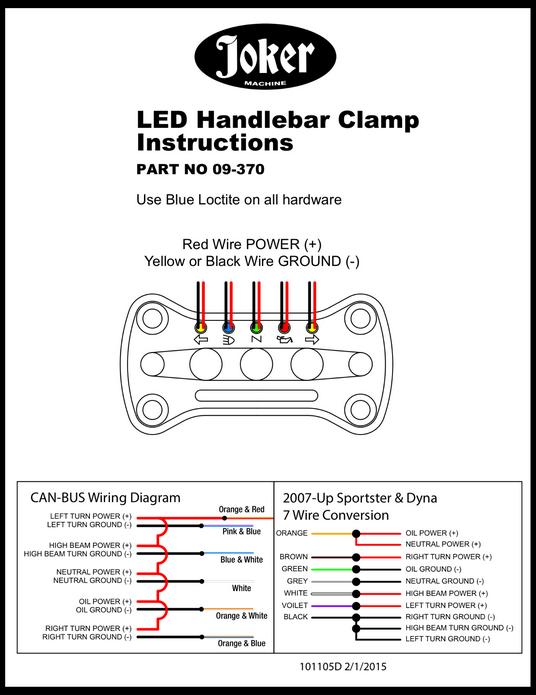 joker machine riser handlebar top clamp led indicator lights for harley