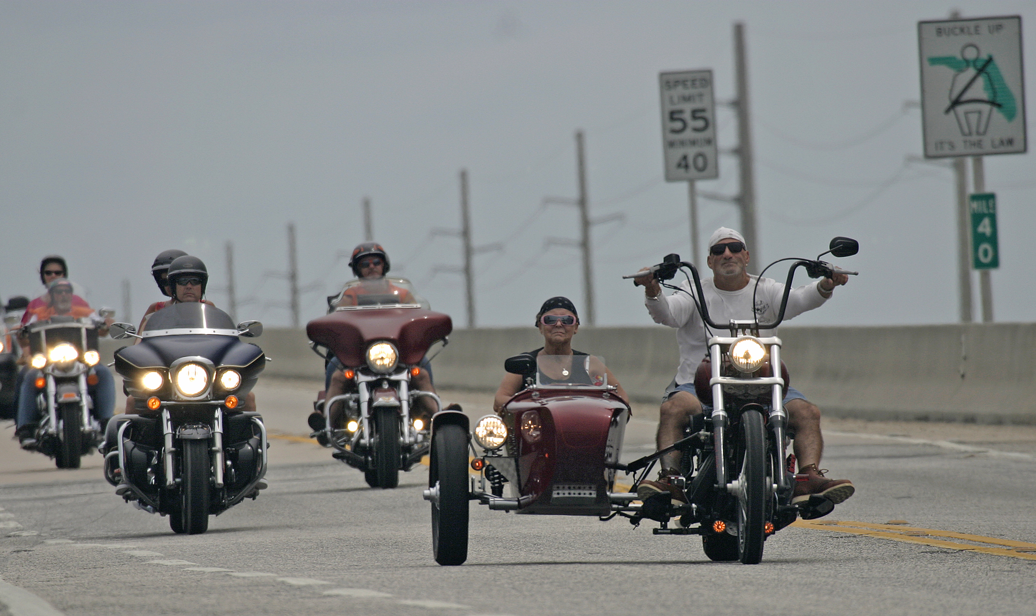 sidecar on Seven Mile Bridge