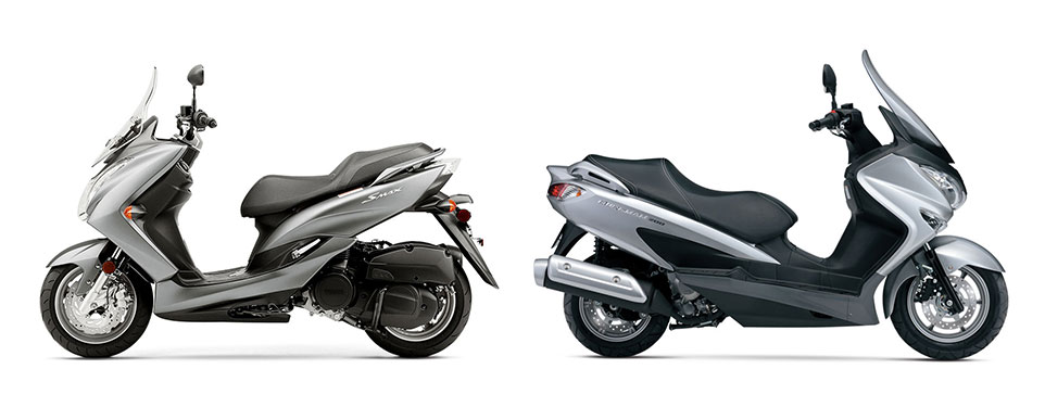 scooter battle 2015 yamaha smax vs 2014 suzuki burgman. Black Bedroom Furniture Sets. Home Design Ideas