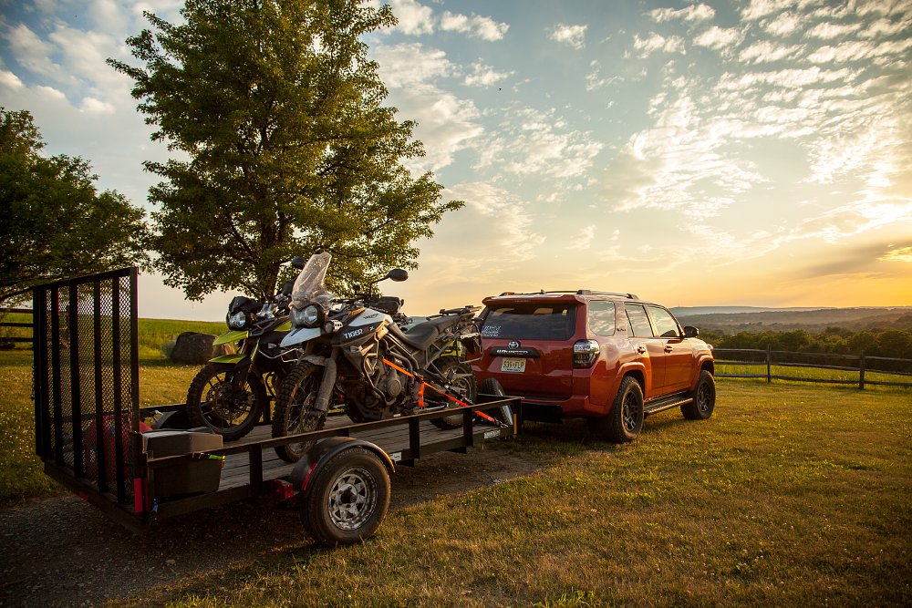 Triumph Tiger 800 and Toyota 4Runner TRD Pro