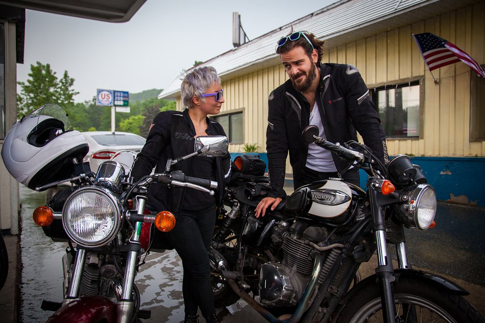 Meagan Benz and Spurgeon Dunbar with Triumph Bonneville and Suzuki TU250X
