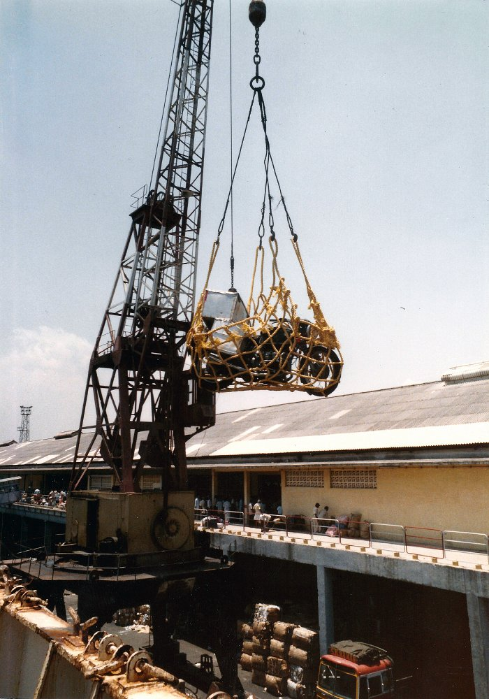 Crane loading the bike