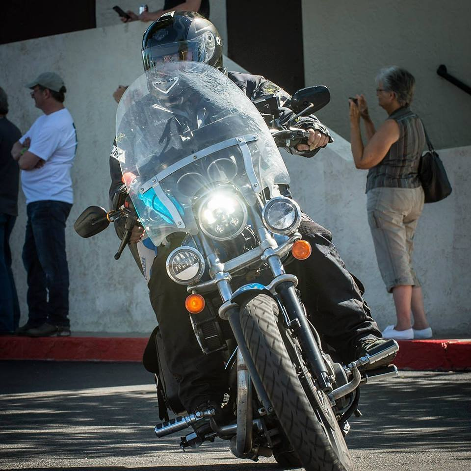 Chris Comly on his Sportster