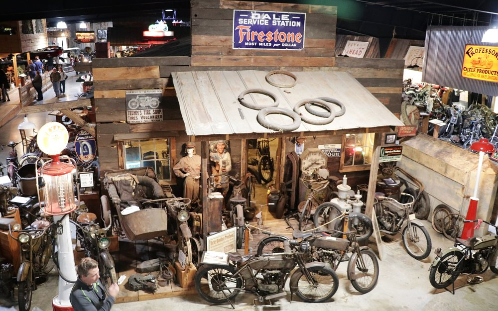 recreated motorcycle shop