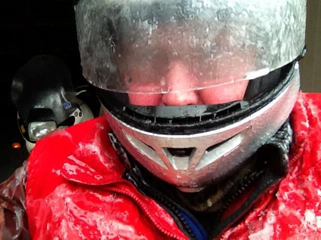freezing rain on helmet
