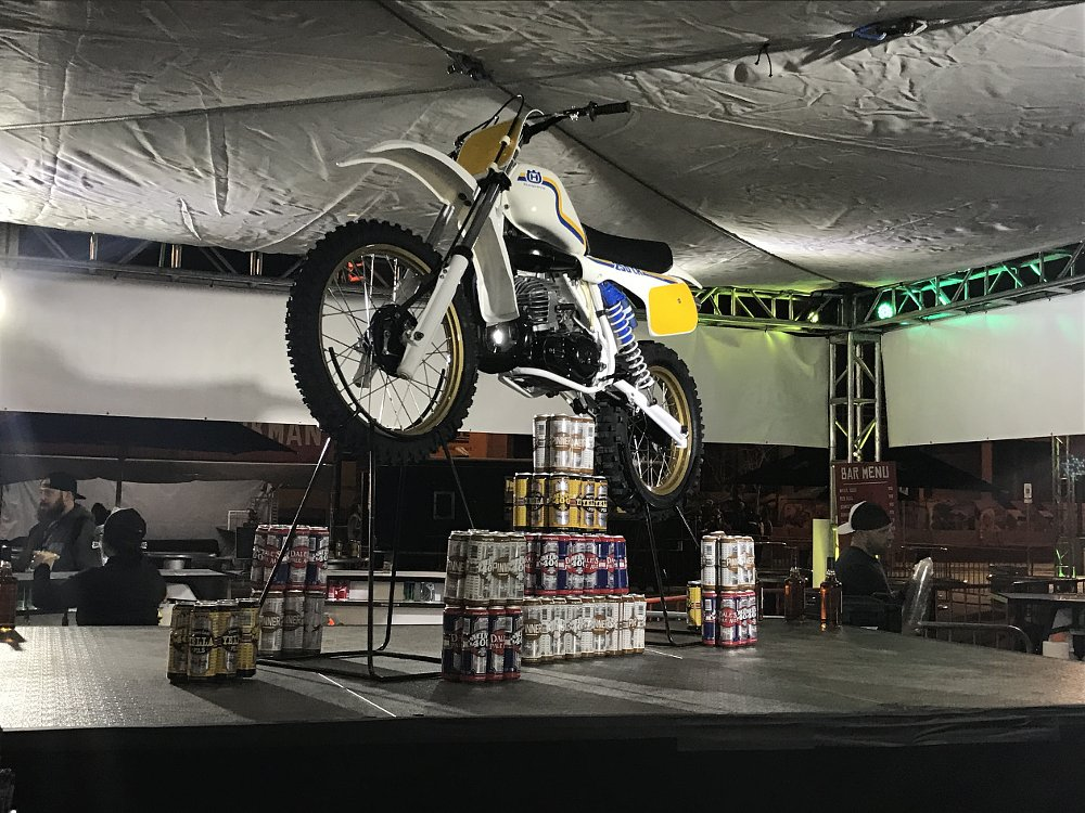 Husqvarna hanging from the ceiling