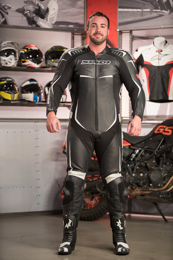 Model wearing Spidi Track Wind Pro Race Suit