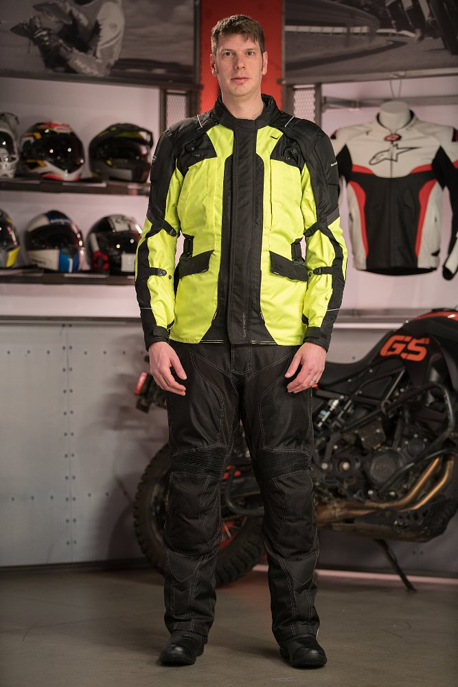 Model Wearing Tourmaster Transition 4 Jacket and Tourmaster Caliber Pants