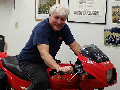 Chuck Stottlemeyer and his Moto Guzzi 650 Lario