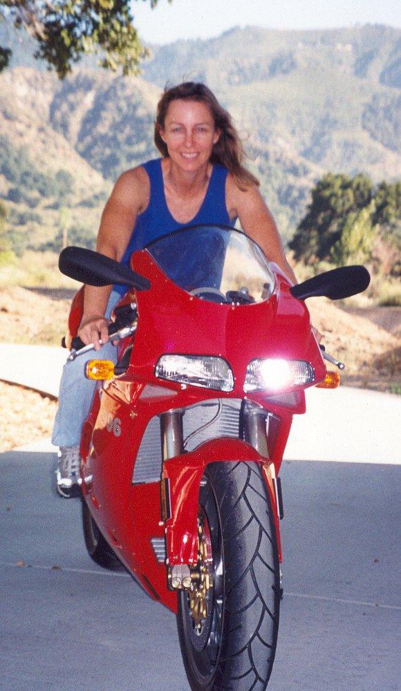 Debbie Evans and her Ducati 996