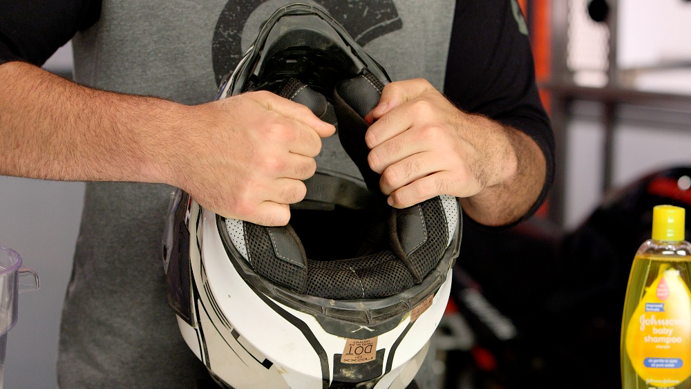 Removing Motorcycle Helmet Interior