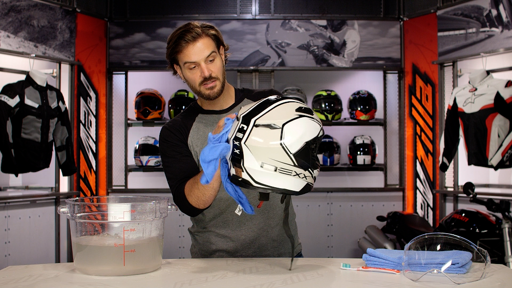 Washing Motorcycle Helmet