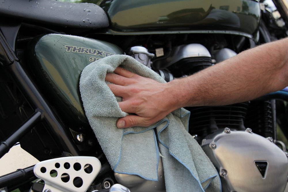 Drying a motorcycle