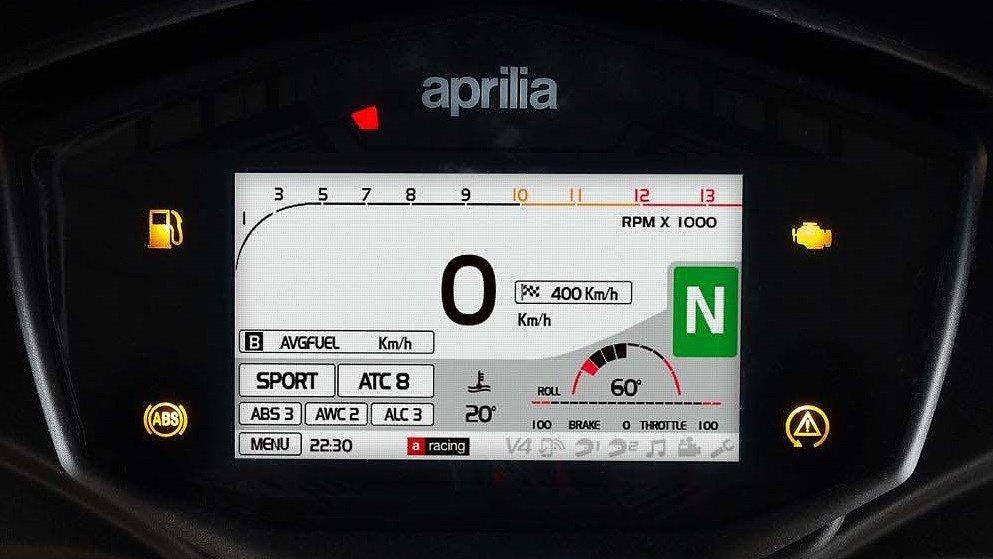 Aprilia TFT dash