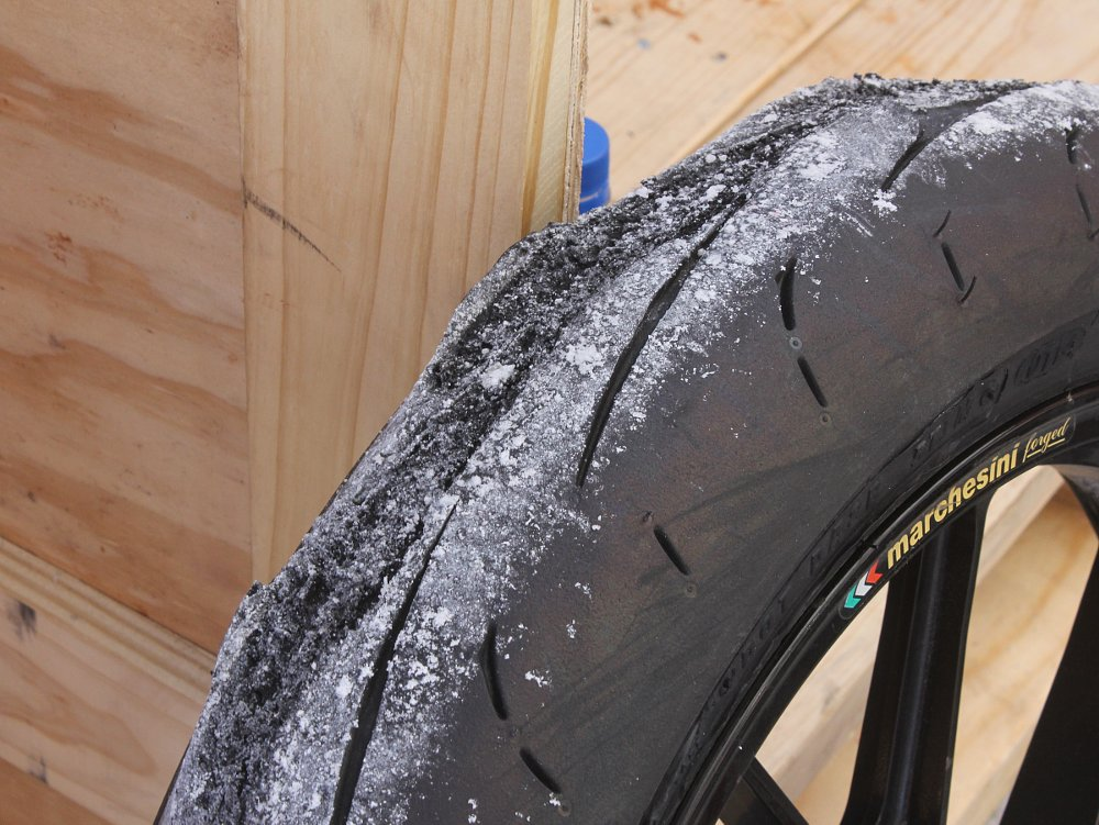 damaged front tire