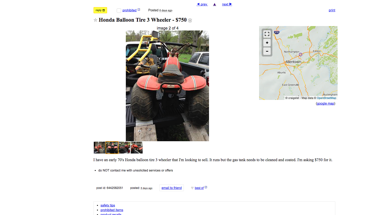 For sale: Craigslist Honda trike good enough for James Bond