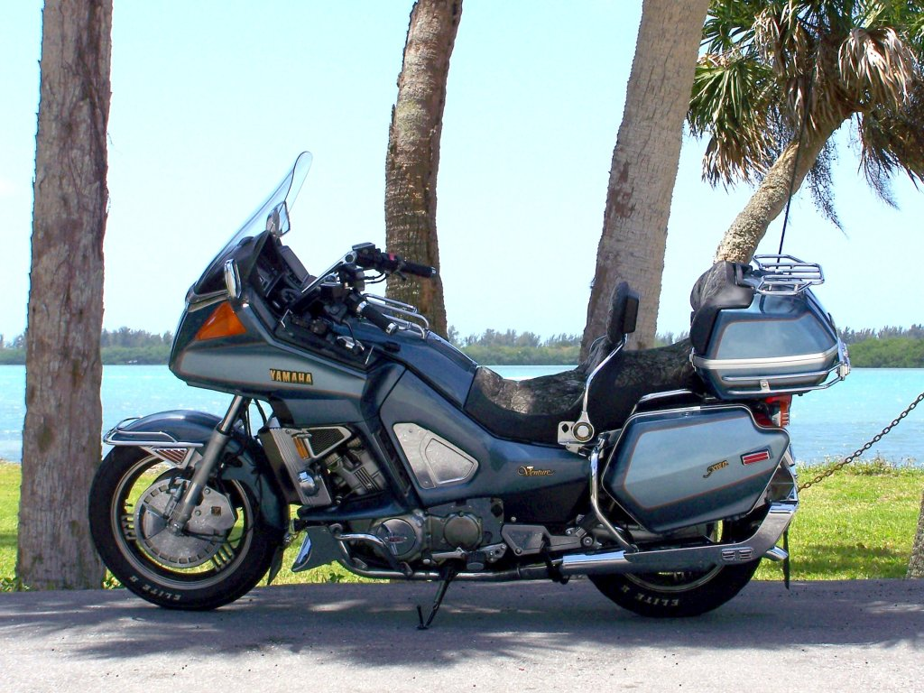 The V-four past behind the V-twin Yamaha Star Venture and Eluder - RevZilla
