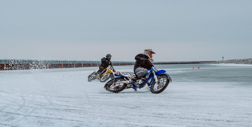 Studs on ice: Three idiots, two vintage bikes, one semi-frozen lake