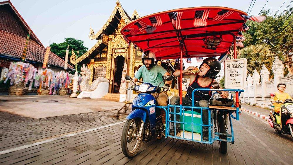 Seeing Thailand on a seven-horsepower sidecar hamburger kitchen
