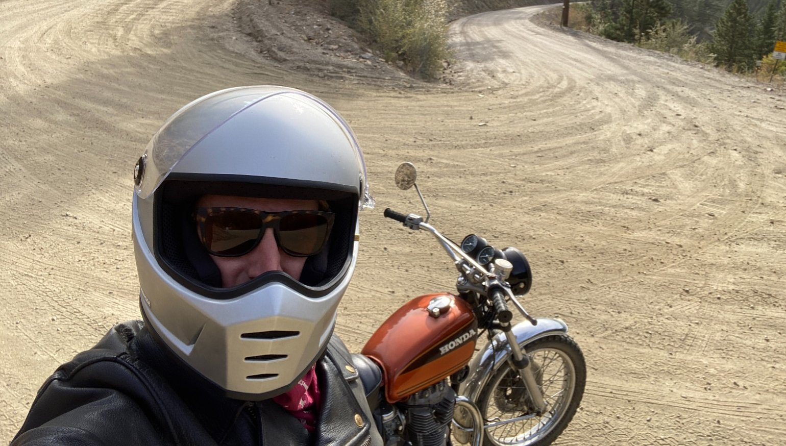 New rider, 45-year-old motorcycle, and Colorado high country