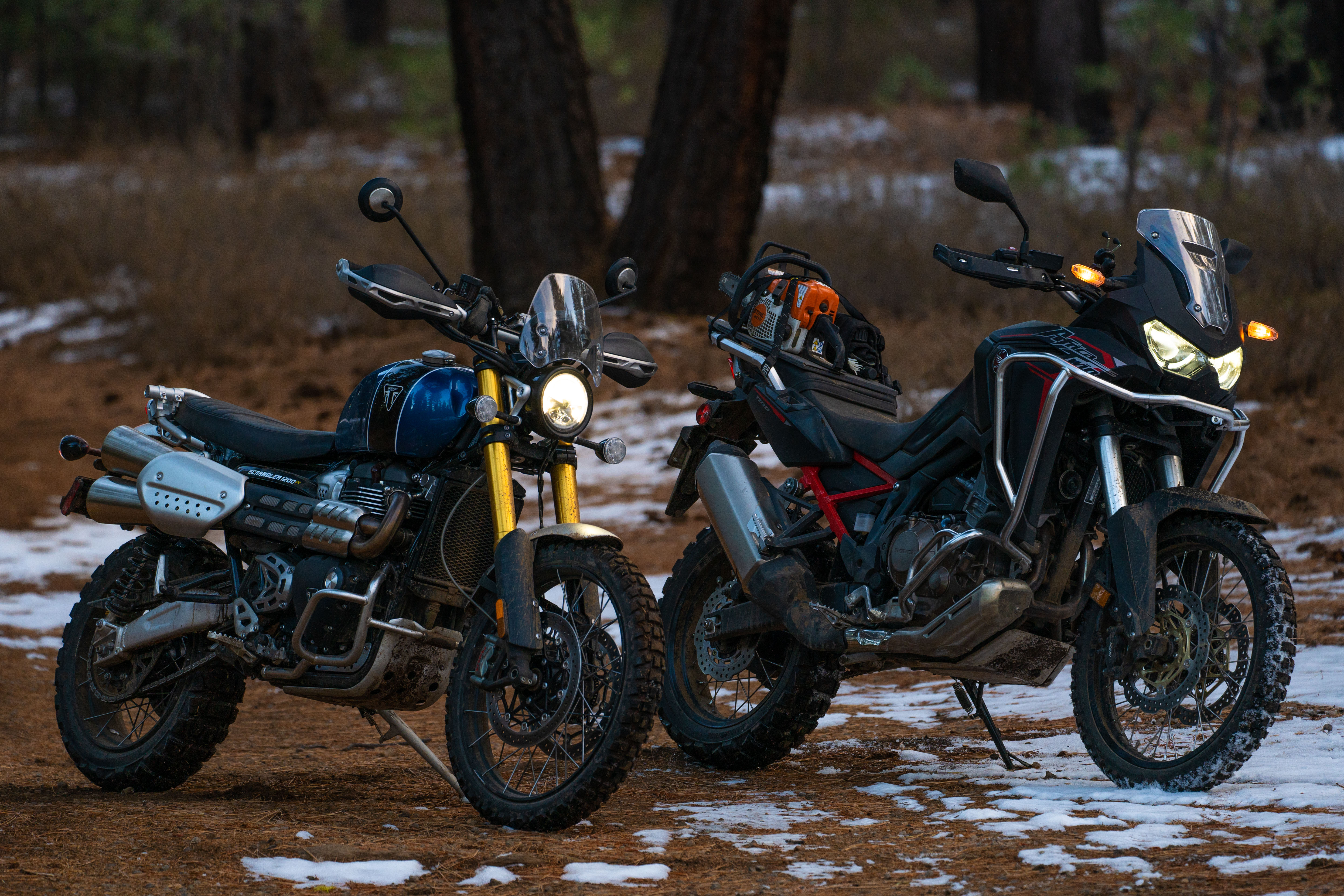 Bringing Home The Holidays On A Honda Africa Twin 1100 And Triumph Scrambler Xe Revzilla