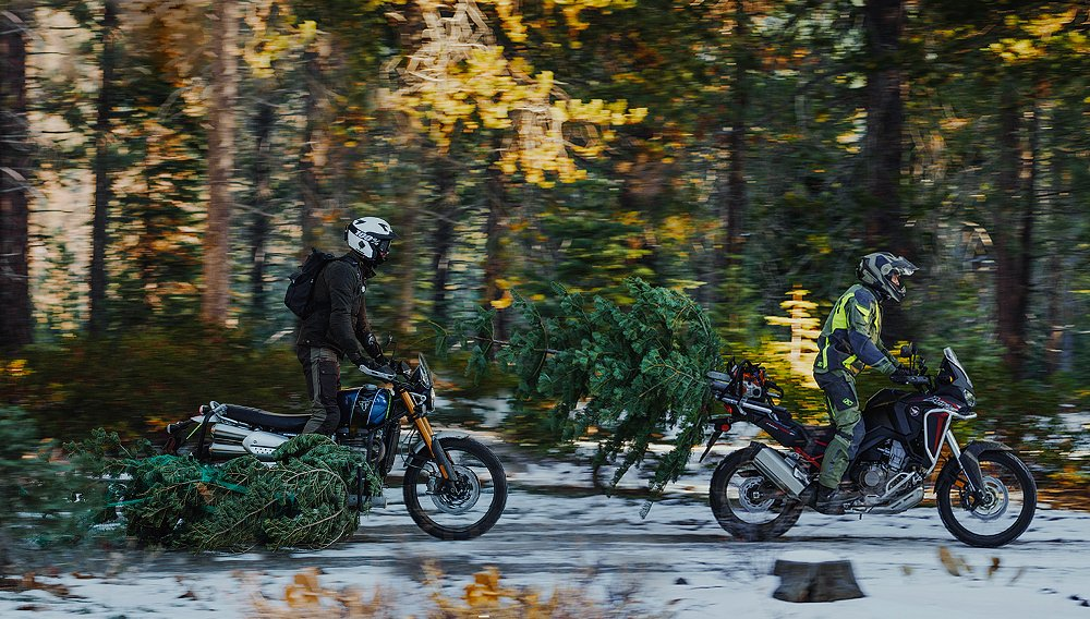 Bringing home the holidays on a Honda Africa Twin 1100 and Triumph Scrambler XE