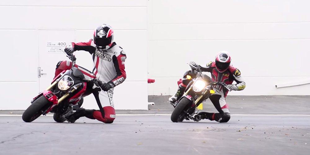 Gromkhana video: Grom wheelies, jumps and drifting
