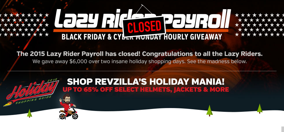 RevZilla's Lazy Rider Black Friday & Cyber Monday Giveaway
