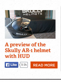 A preview of the Skully AR-1 helmet with heads-up display