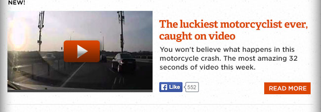 The luckiest motorcyclist ever, caught on video