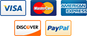 Visa, MasterCard, AMEX, Discove and PayPal accepted!