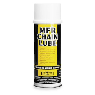 Pro Gold MFR Chain Lube Features: Treats the metal surfaces and reduces friction Reduces wear and stretching Extend your chain life Sheds dirt, mud and abrasives Will not get tacky or build-up