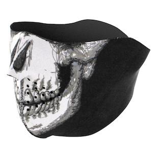 Zan's Glow in the Dark Skull Face Neoprene Half Mask