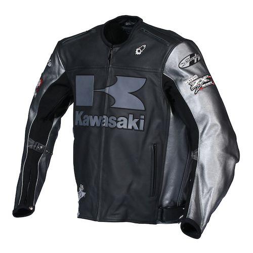 Kawasaki Heavy Leather Jacket - Black/Gunmetal