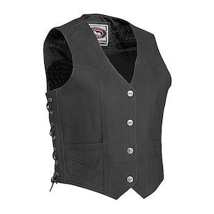 River Road Matte Black Women's Leather Vest