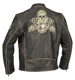 River Road Vintage Racing Skull Graphix Leather Jacket