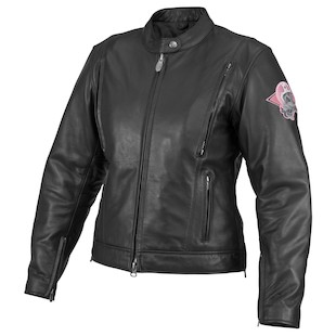 River Road Women's Biker Skull Graphix Leather Jacket