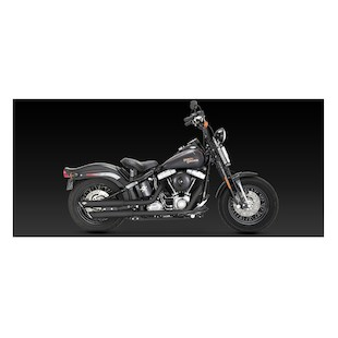 """Vance & Hines 3"""" Round Twin Slash Slip-On Exhaust For Harley Softail 2007-2015"""