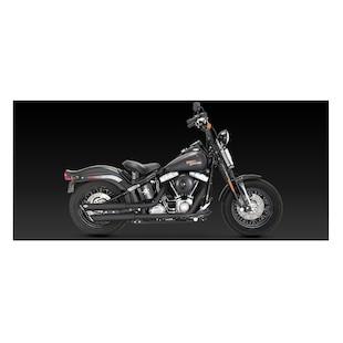 "Vance & Hines 3"" Round Twin Slash Slip-On Mufflers For Harley Softail 2007-2017"