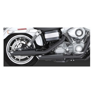 """Vance & Hines 3"""" Round Twin Slash Slip-On Exhaust For Harley Dyna 1991-2014"""