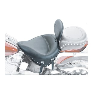 Mustang Wide Solo Seat With Driver Backrest For Harley Softail 1984-1999