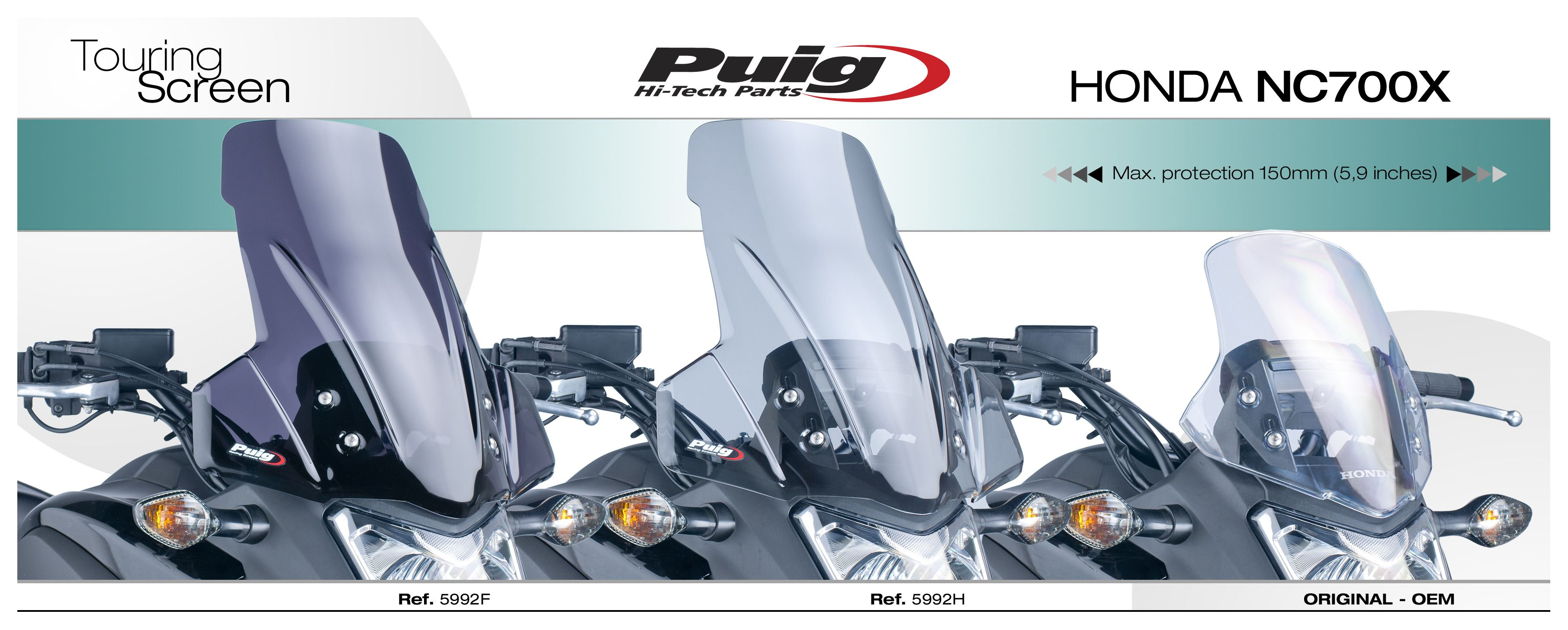 2012-2014 Honda NC700X 5992H Puig Touring HD Windscreen//Windshield Light Smoke