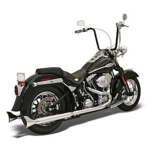 Bassani True Dual Pipes With Long Fishtails For Harley Softail