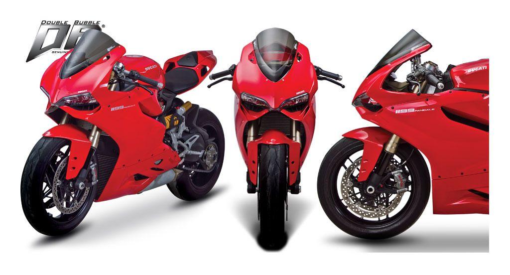 Smoke Black Double Bubble Windscreen Windshield for Ducati 899 1199 Panigale S R