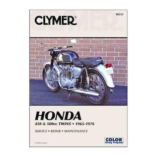 Clymer Manual Honda 450 / 550 Twins 1965-1977 Clymer motorcycle repair manuals are written specifically for the do-it-yourself enthusiast. From basic maintenance to troubleshooting to complete overhaul, Clymer manuals provide the information you need. The most important tool in your tool box may be your Clymer manual, get one today. Includes color wiring diagrams. Note: It is always important to consult multiple sources with any questions when attempting to repair your own bike. Breaking things saves neither time or money! Models Covered: CB450 (1965-1974) CL450 (1968-1974) CB500T (1975-1976)