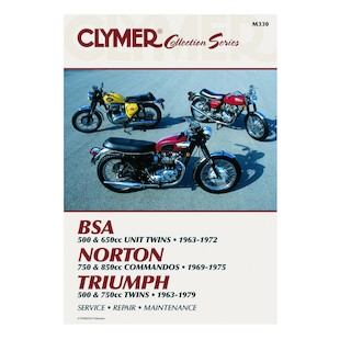 Clymer Manual Collection Series British Street Bikes Clymer motorcycle repair manuals are written specifically for the do-it-yourself enthusiast. From basic maintenance to troubleshooting to complete overhaul, Clymer manuals provide the information you need. The most important tool in your tool box may be your Clymer manual, get one today. Note: It is always important to consult multiple sources with any questions when attempting to repair your own bike. Breaking things saves neither time or money! Models Covered: BSA 500 and 650 cc Unit Twins (1963-1972) Norton 750 & 850 cc Commando (1969-1975) Triumph 500, 650 & 750 cc Twins (1963-1979)
