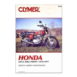 Clymer Manual Honda 250 / 360 Twins 1974-1977 Clymer motorcycle repair manuals are written specifically for the do-it-yourself enthusiast. From basic maintenance to troubleshooting to complete overhaul, Clymer manuals provide the information you need. The most important tool in your tool box may be your Clymer manual, get one today. Note: It is always important to consult multiple sources with any questions when attempting to repair your own bike. Breaking things saves neither time or money! Models Covered: CB250GS (all years) CJ250T (all years) CB360 (1975-1976) CB360G (1974) CL360 (1974-1975) CJ360T (1975-1977)