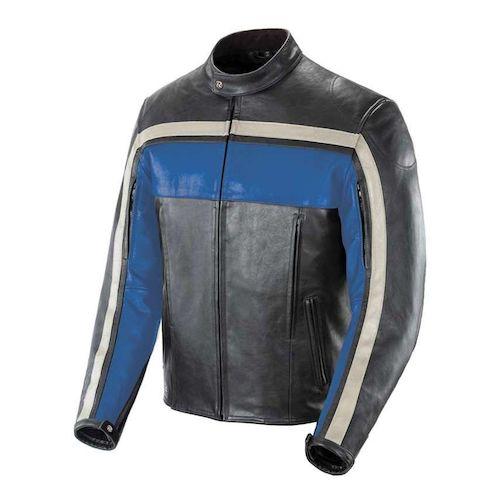 Joe Rocket Old School Leather Jacket - Blue/Black/Ivory