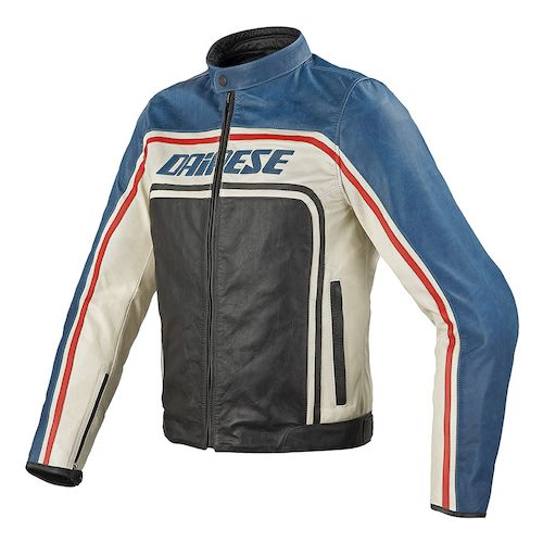 Dainese Tourage Vintage Leather Jacket (Size 60) - Black/Blue/Ice