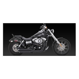 "Vance & Hines 3"" Round Twin Slash Slip-On Mufflers For Harley"